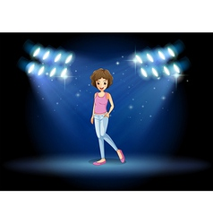 A girl performing in the middle of the stage vector image