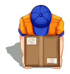 A topview of a delivery man vector