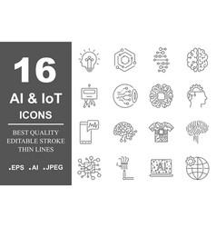 Ai icon set data science technology machine vector