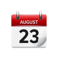August 23 flat daily calendar icon Date vector image