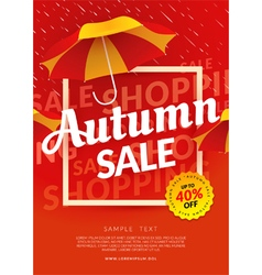 Autumn sale poster template with umbrella vector image