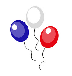 balloons blue red white icon flat style 4th vector image