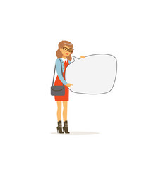 beautiful young woman character with empty message vector image