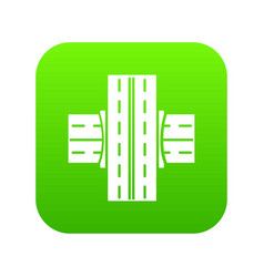Bridge over road icon green vector