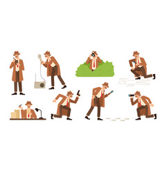 Bundle of detective with mustache looking through vector