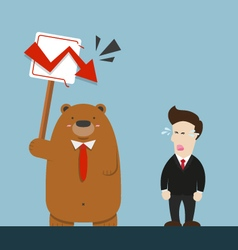 Businessman and cute big brown bear in stock vector