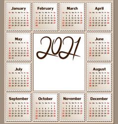 Calendar for 2021 vector
