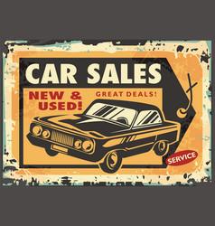 car sales vintage sign vector image