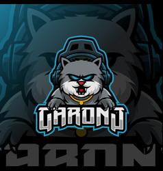 Cat mascot esport logo template vector
