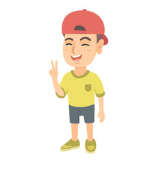 caucasian little boy showing victory gesture vector image