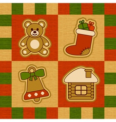 Christmas quilt vector