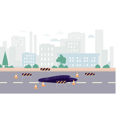 Cityscape with road under construction and road vector