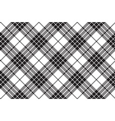Clan cameron tartan diagonal black white seamless vector