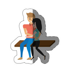 Couple love embracing sitting shadow vector