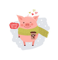 cute cartoon pig wearing in scarf isolated on vector image