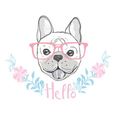 Cute french bulldog princess hand drawn graphic vector