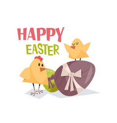 cute yellow chicks with decorated eggs happy vector image