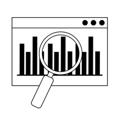 Data analysis website diagram finance magnifier vector