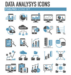 Data analysys grey blue icons set on white vector