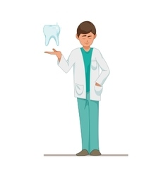 Dentist a doctor in a blue suit a tooth vector image
