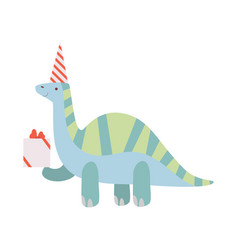 dinosaur in party hat cute dino character vector image