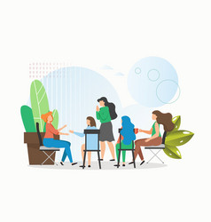 female patients having problems sitting in circle vector image