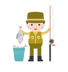 fisherman and fishing rod set profession vector image