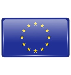Flags European Union in the form of a magnet on vector