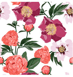 floral seamless pattern with coral orange vector image