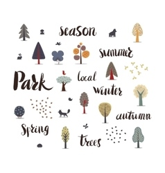 Forest trees with lettering vector
