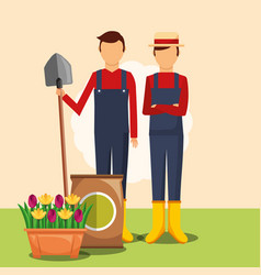 Gardeners man with shovel potting soil and flowers vector