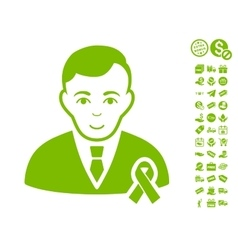 Gentleman With Mourning Ribbon Icon With Free vector