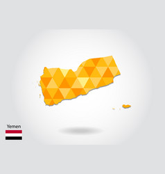 geometric polygonal style map of yemen low poly vector image