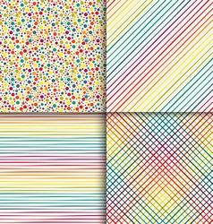 Geometric seamless patterns set in vintage rainbow vector