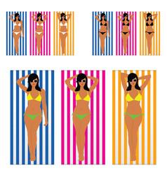 girl in bikini beauty on towel set vector image