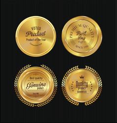 Golden metal badges 2 vector