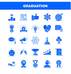 Graduation solid glyph icons set for infographics vector