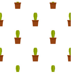 Green potted cactus pattern seamless vector