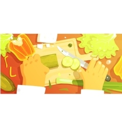 Hands Cutting Vegetbles Colorful From vector image