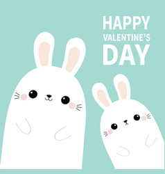 happy valentines day two white bunny rabbit hare vector image