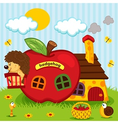 Hedgehog in house of apples vector
