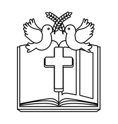 Holy bible with wooden cross vector