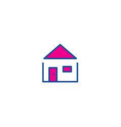 home thin line color icon icon for web and user vector image