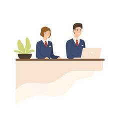 hospitality male and female in uniform at counter vector image