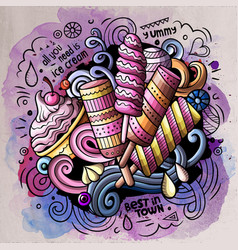 Ice cream cartoon doodle watercolor vector