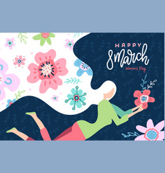 international women s day cute greeting card vector image