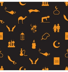 Islamic religion simple icons seamless pattern vector