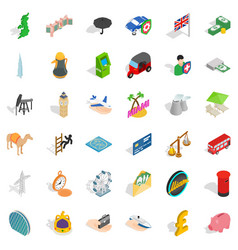 Island icons set isometric style vector