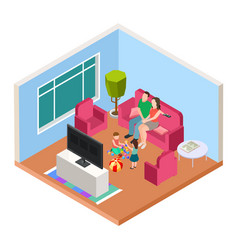 isometric family time parents and kids vector image