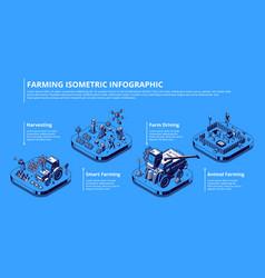 Isometric infographic smart farming vector